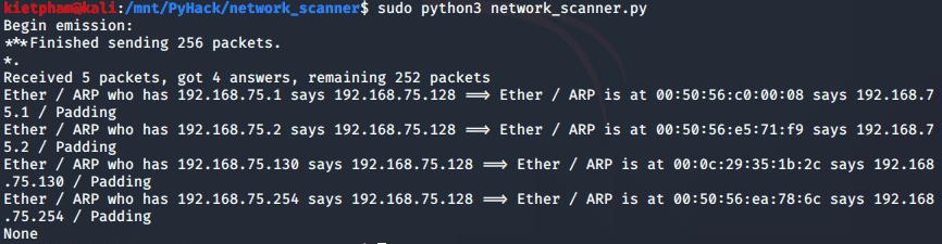 [PyHack] Bài 3: Network Scanner - Quét thông tin mạng 146
