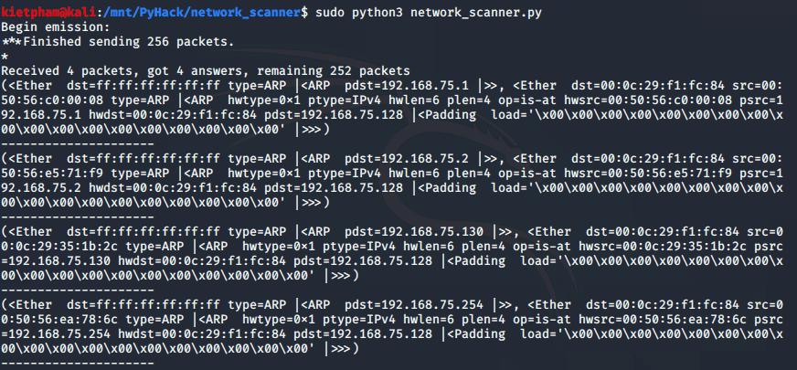 [PyHack] Bài 3: Network Scanner - Quét thông tin mạng 149