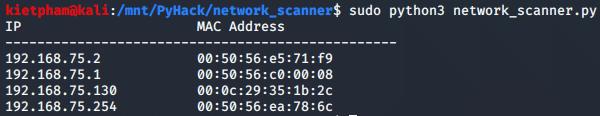 [PyHack] Bài 3: Network Scanner - Quét thông tin mạng 157