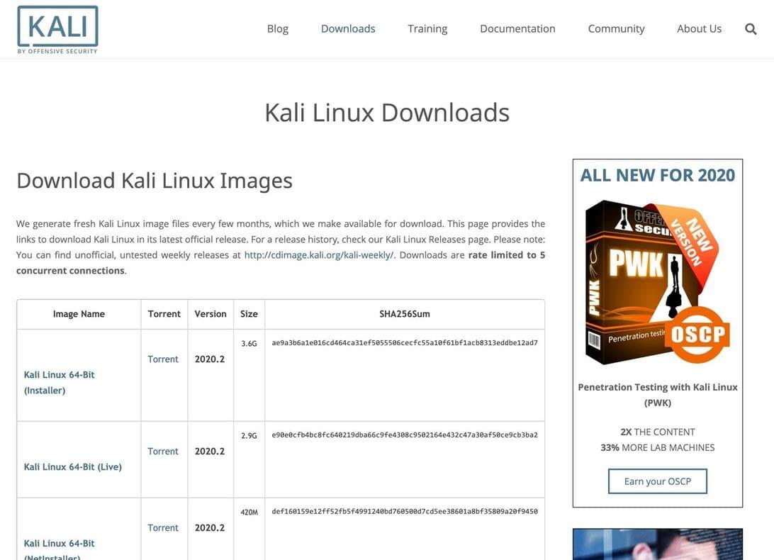 hướng dẫn download kali linux 2020