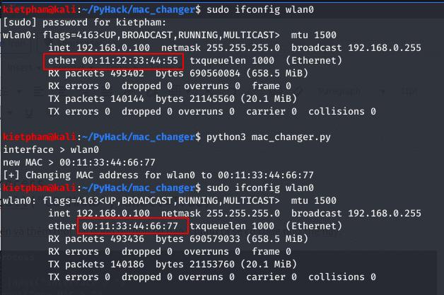 change mac with pyhack