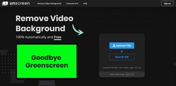 dùng unscreen để xóa nền video