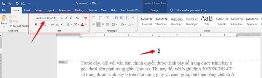 định dạng font cho số trang word