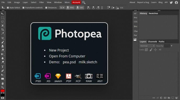 Photopea thay thế Photoshop