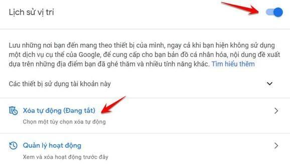 xóa lịch sử vị trí google