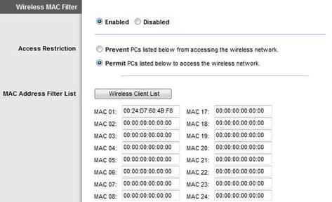 mac filter wifi