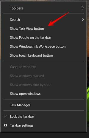 show task view button