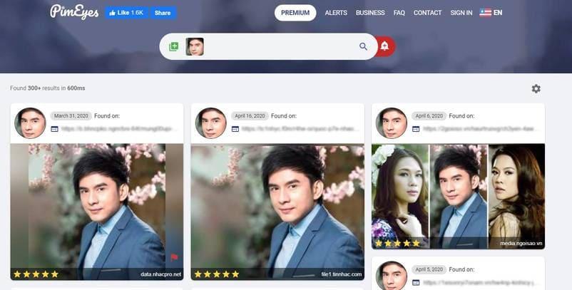 tìm kiếm khuôn mặt bằng AI với pimeyes