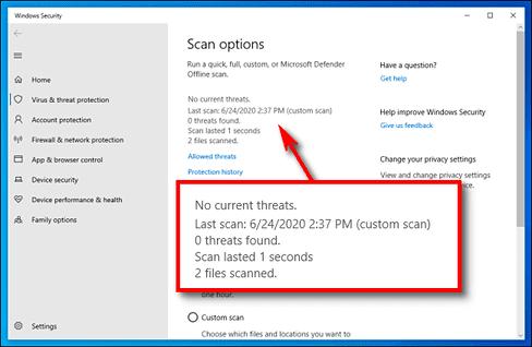 chế độ quét Microsoft Defender