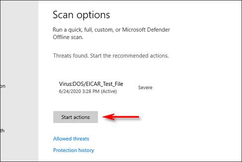 scan option Microsoft Defender