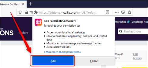 Add Facebook Container