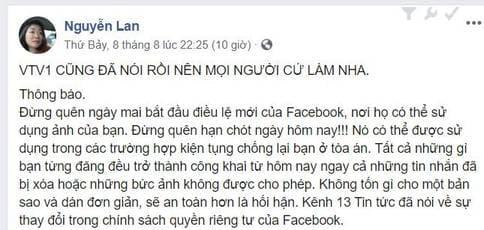 """Nhiều người bị lừa về tin """"Quyền riêng tư"""" hình ảnh trên Facebook"""