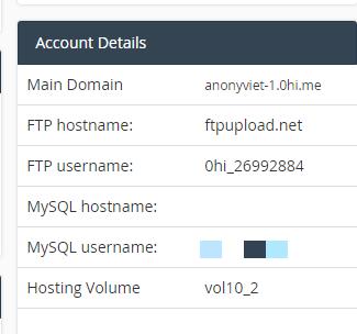 tài khoản hosting miễn phí 0hi