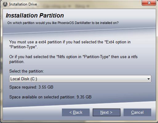 Cài đặt Hệ Điều Hành Phoenix Os Dark Matter Định Dạng NTFS 71