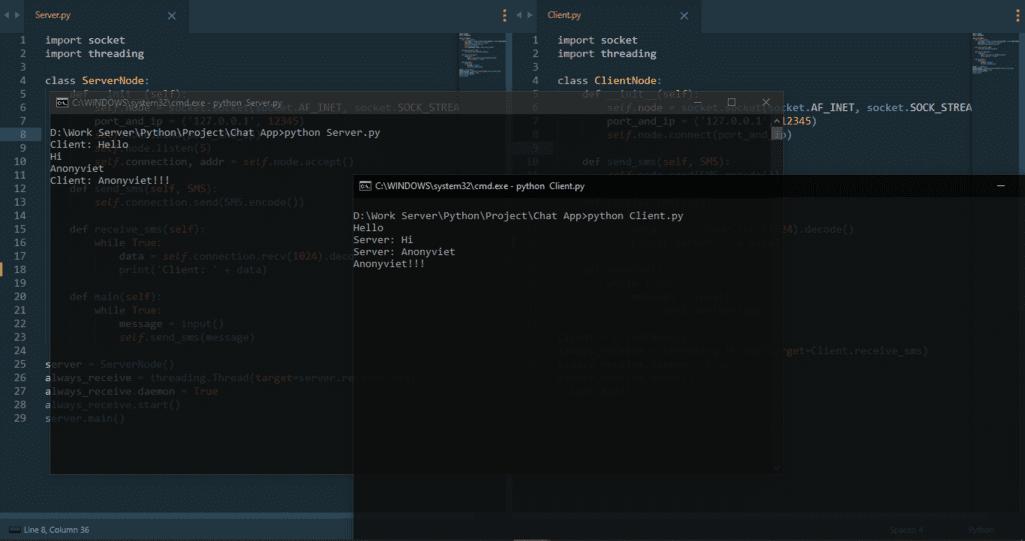 ứng dụng chat bằng Python