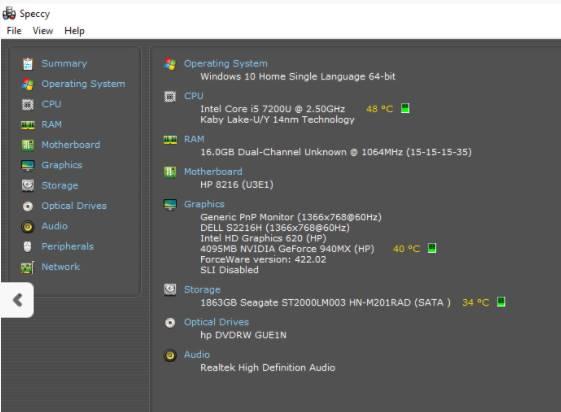 Speccy kiểm tra nhiệt độ CPU
