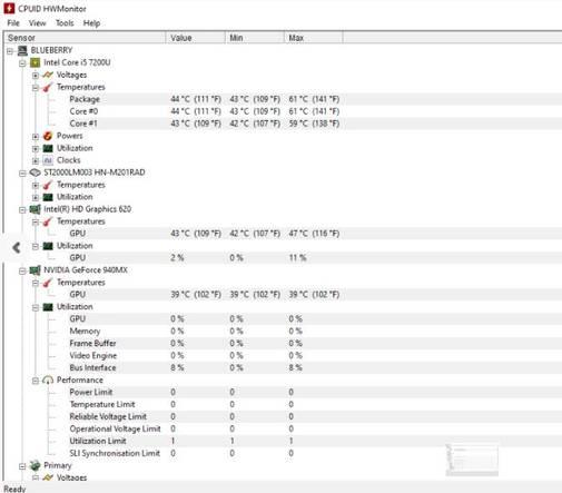 kiểm tra CPU với HWMonitor