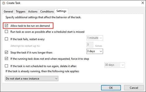 Create Task – Settings