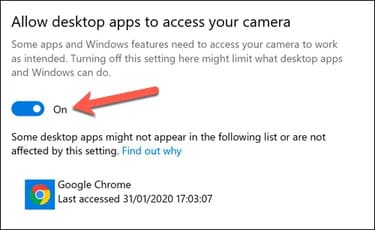 Allow desktop apps to access your camera