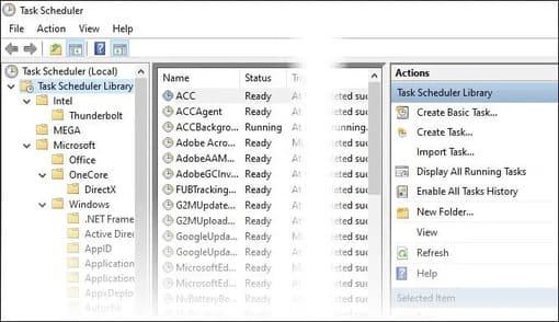 Task Scheduler sẽ có nhiều tác vụ đã được lên lịch sẵn
