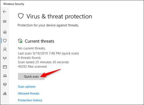 Quick Scan quét phần mềm độc hại windows security
