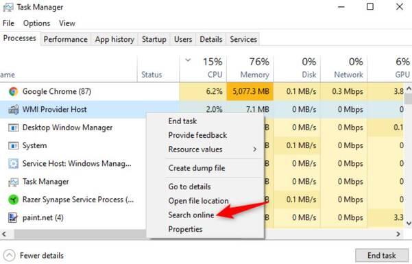 kiểm tra windows bị nhiễm virus bằng task manager