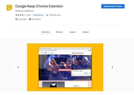 Tiện ích mở rộng Google Keep