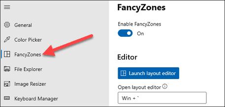 Chọn vị trí mở cửa sổ với fancyzones PowerToys