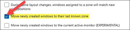 Move newly created windows to their last known zone