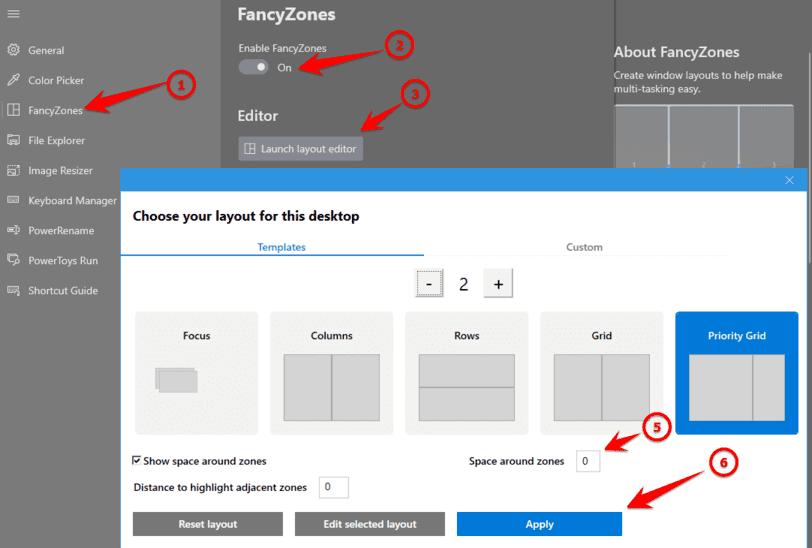 Chọn vị trí cửa sổ sẽ mở trên màn hình fancyzones