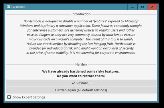 Hardentools: công cụ giúp vô hiệu hóa các tính năng nguy hiểm trên Windows 22