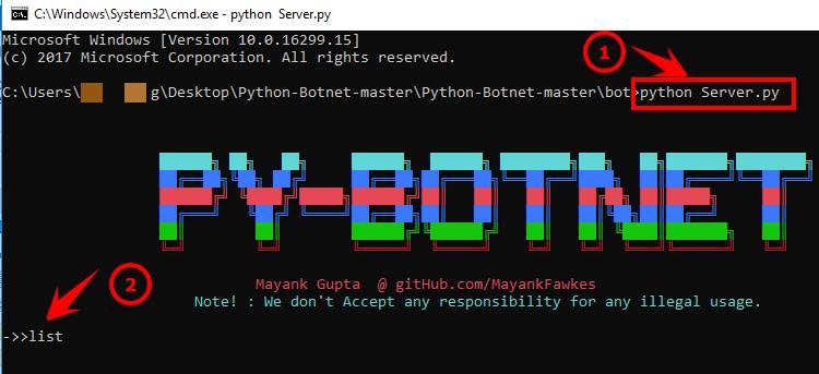 điều khiển botnet py-botnet