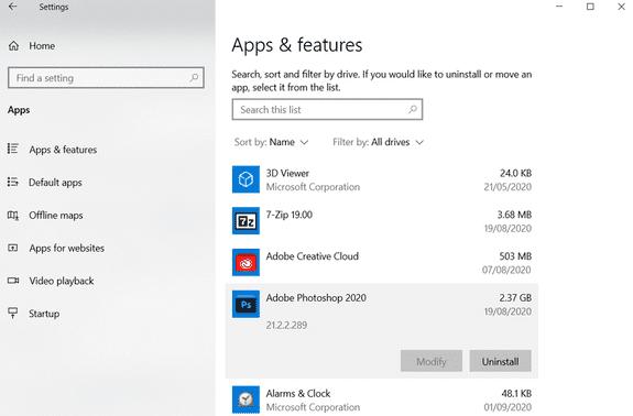 Gỡ cài đặt các phần mềm không sử dụng dọn rác windows