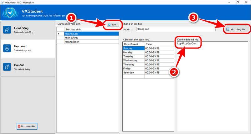 VX Student - Phần mềm quản lý học sinh khi học trực tuyến