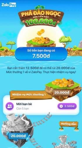 Hướng dẫn nhận 100.000đ về ZaloPay miễn phí - Phá Đảo Ngọc 7