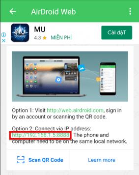 sử dụng QR đăng nhập android