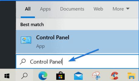 mở Control Panel
