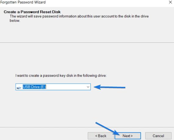 chọn ổ USB để reset Password windows 10