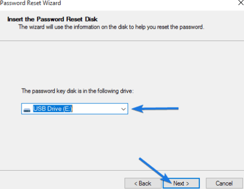 chọn usb reset pass