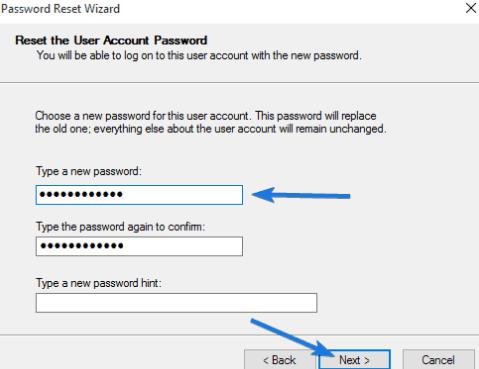 Reset the User Account Password