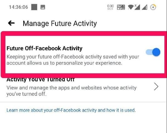 Future Off-Facebook Activity button off