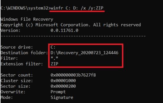 Signature mode windows file recovery