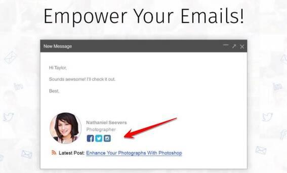 WiseStamp tiện ích tạo chữ ký gmail