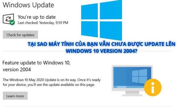 Tại sao máy tính của bạn chưa được cập nhật Windows 10 2004
