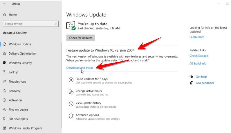 windows update 2004