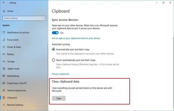 Cách xóa lịch sử của bộ nhớ tạm trên Windows 10