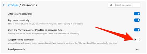 Cách Bật/Tắt Trình tạo mật khẩu trong Microsoft Edge 37