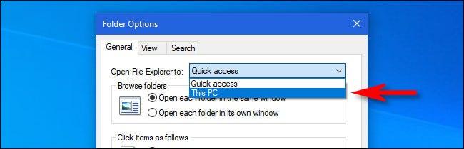 "thay thế ""Quick access"" thành ""This PC"""
