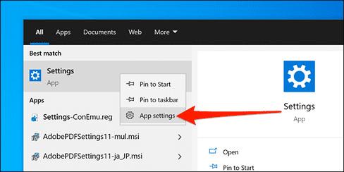 Đặt lại ứng dụng Settings bằng Start Menu